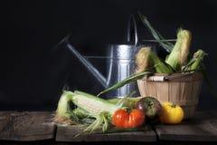 Tomates de maïs et d'héritage photographie stock