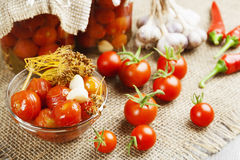 Tomates de mise en boîte Images stock