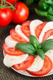tomates de mozzarella d'isolement blanches Photos libres de droits