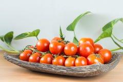 Tomates de plat en bois Photographie stock libre de droits