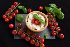 Tomates de vigne, feuilles de basilic et fromage de mozzarella sur un fond noir image stock