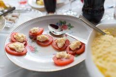 Tomates del queso Tabla casera, la demanda para los tomates Tomates rellenos con queso y albahaca imágenes de archivo libres de regalías