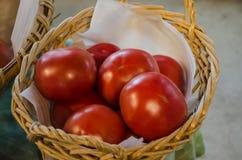 Tomates del rey en cesta Fotos de archivo libres de regalías