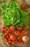 Tomates detalhados e tomates de cereja com salada verde, cenouras e cebolas Imagem de Stock Royalty Free