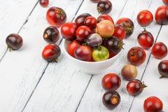 Tomates diferentes na bacia no fundo de madeira branco Fotos de Stock Royalty Free