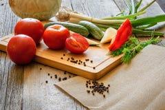 Tomates dos legumes frescos, pepino, pimenta de pimentão, aneto no fundo de madeira Fotografia de Stock