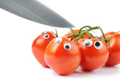 Tomates drôles avec les yeux écarquillés Images libres de droits