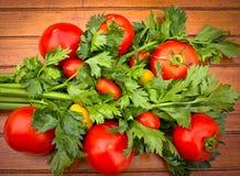 Tomates e aipo (folhas do aipo) Imagem de Stock