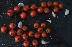 Tomates e alho, no fundo preto Foto de Stock