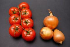 Tomates e cebolas fotografia de stock