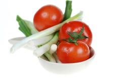 Tomates e cebolas frescos Imagens de Stock Royalty Free