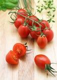 Tomates e ervas Imagens de Stock
