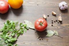 Tomates e ervas Imagem de Stock