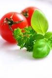 Tomates e ervas de cereja Fotografia de Stock Royalty Free