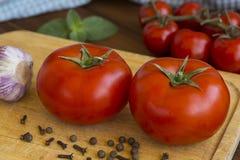 Tomates e especiarias maduros Fotos de Stock Royalty Free