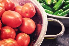 Tomates e Jalapenos em inoxidável fotografia de stock