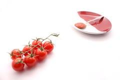 Tomates e ketchup pequenos Imagens de Stock