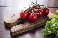 Tomates e manjericão do cocktail na placa de madeira Foto de Stock Royalty Free