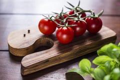 Tomates e manjericão do cocktail na placa de madeira Imagens de Stock
