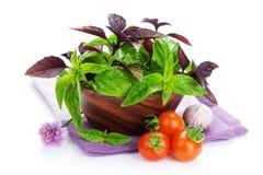Tomates e manjericão frescos dos fazendeiros Fotos de Stock Royalty Free