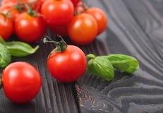 Tomates e manjericão vermelhos frescos de cereja em um fundo de madeira Fotografia de Stock Royalty Free