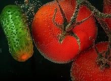 Tomates e pepino vermelhos com bolha de ar em uma superfície em um blac Imagens de Stock Royalty Free