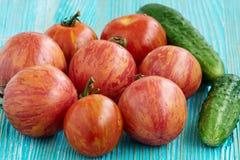 Tomates e pepinos frescos Imagens de Stock Royalty Free