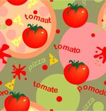 Tomates e pizza Imagens de Stock