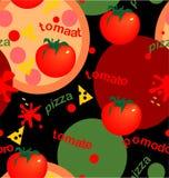 Tomates e pizza Fotos de Stock Royalty Free