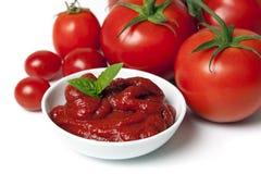 Tomates e puré do tomate Fotografia de Stock