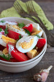 Tomates e salada dos ovos Imagem de Stock Royalty Free
