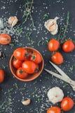 Tomates em um prato em um fundo preto fotos de stock royalty free