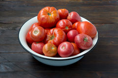 Tomates em uma bacia Imagem de Stock Royalty Free