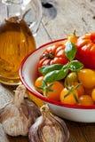 Tomates em uma bacia, em um alho, em uma manjericão e em um azeite Fotografia de Stock Royalty Free