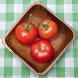 Tomates em uma bacia em um cobertor do piquenique. Fotografia de Stock