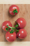 Tomates em uma placa Imagens de Stock