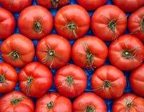 Tomates en caja como fondo Fotografía de archivo