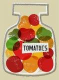 Tomates en tarro Ilustración del vector en estilo retro Fotos de archivo