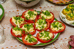 Tomates enchidos do vermelho Imagens de Stock