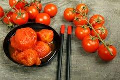 Tomates enlatados Fotografia de Stock Royalty Free