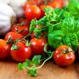Tomates, ervas e alho frescos Imagens de Stock