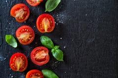 Tomates et basilic rouges image libre de droits
