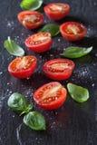 Tomates et basilic rouges photo stock