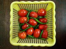 Tomates et Chilis Photo stock