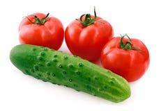 Tomates et concombre Photographie stock