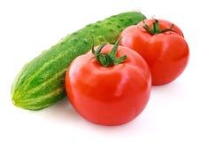 Tomates et concombre Photo stock