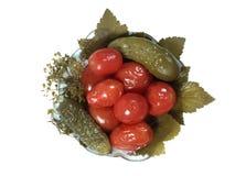 Tomates et concombres Photographie stock