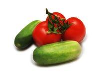 Tomates et concombres Images stock