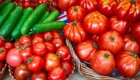 Tomates et concombres rouges Image stock
