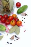 Tomates et concombres sur le fond blanc Photographie stock